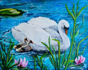 Nature Painting, Swan with Cygnets, Baby Swans with Swan Art, Acrylic Original Art, Waterfowl Art, NOT a Print,12 x 16 inches