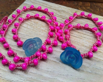 Jewelry Set for little girl and her AMERICAN Girl DOLL bubblegum pink with blue flower closure Make Someone Happy