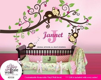 Girl Jungle Monkey Wall Decal, Sticker for nursery wall decor. Monkeys with Name, initial and owl wall decal. Monkeys Tree wall decal -d558