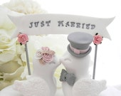 Wedding Cake Topper Love Birds, White, Dusty Pink and Grey, Custom Banner - Bride and Groom Keepsake