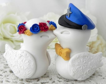 Police Officer, Wedding Cake Topper, Love Birds, Ivory, Red, Royal Blue and Mustard Yellow, Bride and Groom Keepsake