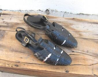 90s Huarache Sandals Woven Italian Leather Shoes Ladies Size 9.5