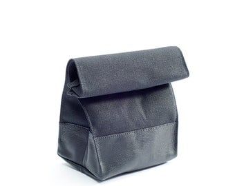 Waxed Canvas and Leather Lunch Bag: Black On Black