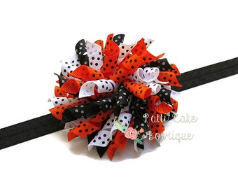 Lots of Dots Halloween Hair Bow w/ Black Headband, Baby Girls Hair Bow, Korker Bow, Halloween Bow, Corker Hairbow, Toddler Hair Bow