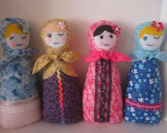 Russian Babushka Matryoshka Folk Doll Stuffed Soft Cuddly Toy DOLL for Girls - Pink, Blue, Yellow, Purple - CHOICE