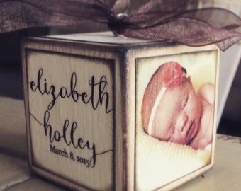 Personalized Baby's First Christmas Ornament - Photo Block