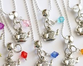 Time For Tea Kettle Teapot Charm Party Favor 10  Mixed Colors Necklaces, Tea Party, Girls Necklace, Girls Tea Party