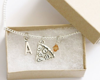 Pizza Necklace Silver, Personalized Initial Necklace, Birthstone Acrylic Color, Foodie Gift, Food Jewelry, Food Necklace, Pizza Jewelry