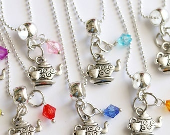 Tea Party Favor 10+  Mixed Colors Necklaces Time For Tea Kettle Teapot Charm Girls Necklace, Girls Tea Party