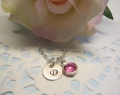 Small initial necklace, handstamped jewelry, birthstone necklace, initial and birthstone necklace, new mom, best friend, mother daughter