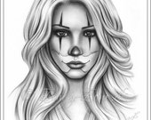 Chicano Tattoo Clown Girl Art Print Glossy Emo Fantasy Girl Zindy Nielsen
