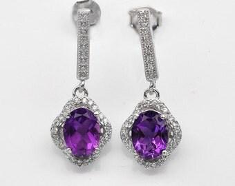 Handmade Natural Gemstone Jewelry, Genuine Purple Amethyst Sterling Silver Earring  FD5C0432  ER-PAM567