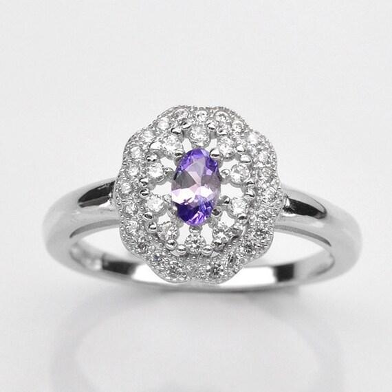 Handmade natural gemstone jewelry genuine bluish purple tanzanite