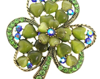 Green 3 Leaf Clover Flower Crystal Pin Brooch 1005172