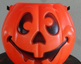 Vintage Trick or Treat Pumpkin Halloween Pail Adorable 1980s or 70's Large Size
