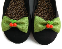 Green Cherry Shoe Clips, Glitter Bow and Red Cherries, Rockabilly Shoe Clips, Pin Up Shoe Clips, Retro Shoe Clips