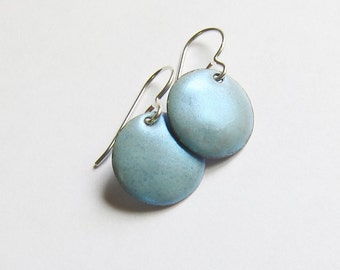 Sky blue earrings Dainty ice blue enamel disc dangles Petite baby blue earrings Simple minimalist jewelry Lightweight