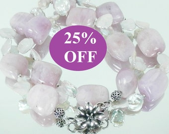 NOW 25% OFF Kunzite and Keshi Freshwater Petal Pearl Statement Necklace