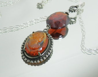 Vintage Glass Cameo and Crystal Pendant Bail on Sterling Silver Chain