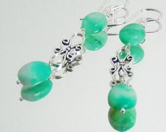 Peruvian Blue Green Opal and Sterling Silver Scroll Link Earrings