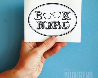 book nerd with glasses oval bumper sticker