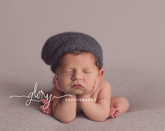 Newborn mohair Slouch hat.  Newborn photo prop