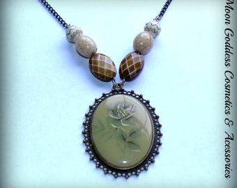 Blooming Rose Cameo Necklace