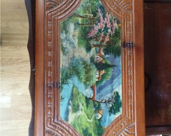 Vintage Wooden Box Treasure Box Pastoral Scene on Wood Cottage by the River Cabin Chic Cottage Chic Jewelry Box Hanky Box