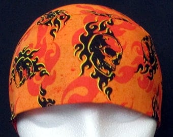 Orange w Skulls Skull Cap or Chemo Cap, Hats, Do Rag, Head Wrap, Bandanna, Halloween, Head Cover, Surgical Cap, Men, Women, Biker,Motorcycle