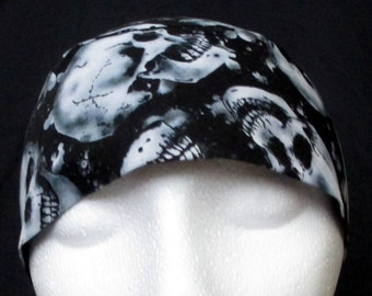 Black w White Skulls Chemo or Skull Cap, Do Rag, Hat, Helmet liner, Motorcycle, Head Wrap, Bandana, Alopecia, Surgical Cap, Hair Loss,Biker