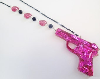 CLEARANCE SALE Half Off Kids With Guns Pink Hearts Resin Pistol Pendant Necklace Bullet Club Cyberpop Kawaii Goth Valentines Black Pink