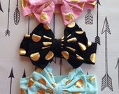 Mint Pink Black Dot Gold Bow Metallic Bow Cotton and Big Bow Headband Baby Hairbow Gold Pink Black Hot Mint