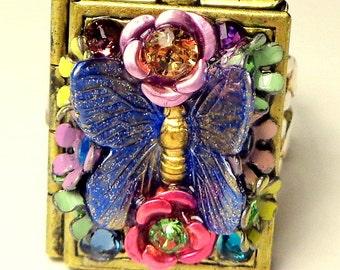 Blue Butterfly Locket Ring, Multi-Color Flower Ring