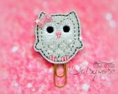 WHITE and SILVER Owl Glitter Paperclip