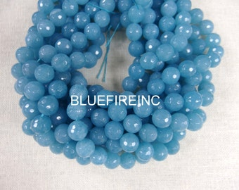 38 pcs Round Faceted Blue Quartz Beads in 10mm Full Strand