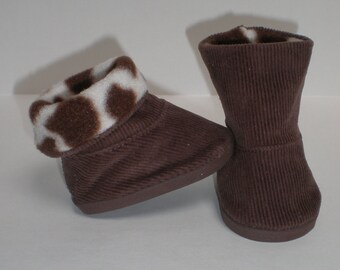 BROWN CORDUROY Boots 18 inch doll clothes