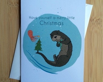 Otter Christmas - Blank Greeting Card