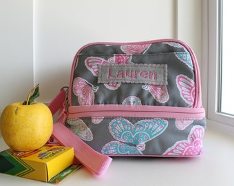 Personalized Lunch Bag -- Pottery Barn Dual Compartment  -- Pink/Gray Butterfly