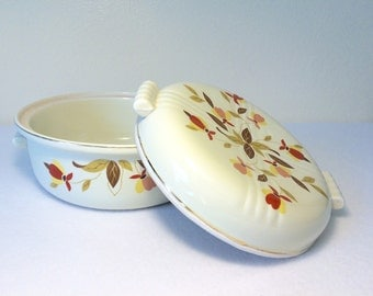 Hall China Covered Casserole Dish Autumn Leaf Vintage Kitchen