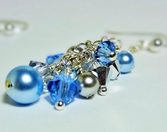 FROZEN Earrings, Dangle Earrings, Swarovski Crystal Earrings, Blue Silver Pearls Earrings