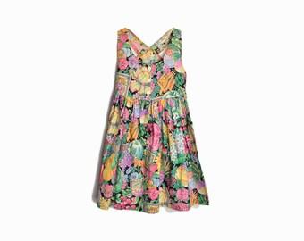 Vintage Little Girl's Vegetable Print Garden Dress - medium 10/12