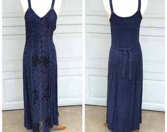 Indigo Blue Indian Gauze Fitted Maxi Dress 90s Vintage Embroidered Boho Ethnic Long Spaghetti Strap Dress Women Small
