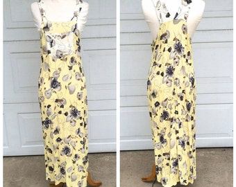 Cheery Yellow 90s Vintage Long Bib Overall Dress Sleeveless Light Floral Maxi Sundress | Small Medium