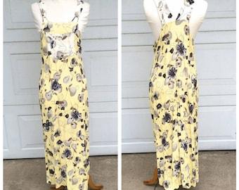Cheery Yellow 90s Vintage Long Bib Overall Dress Sleeveless Light Floral Maxi Sundress | Small Medium