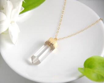 Crystal quartz gemstone necklace, 14K gold filled chain, gold lined natural rock crystal pendant necklace