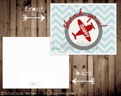 Printable Vintage Airplane Thank You Card - Print from home - Matches airplane postcard