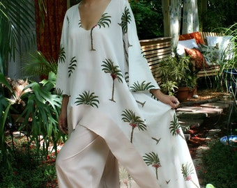 100% Cotton Tunic Pajama Tropical Bridal Cruise 2 Pc Set Indian Summer Collection Honeymoon Nightgown Limited Edition Palm Tree Print