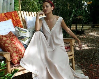100% Cotton Nightgown Blush Cotton Lingerie Cotton Sleepwear Indian Summer Cotton Bridal Honeymoon Embroidered Lingerie