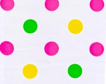 Big Dots in Pink Oilcloth Fabric