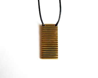 Brass Minimalist Necklace-Gold Modern Pendant-Brass Tube Necklace -Brass Pendant-Oxidized Jewelry-Handcrafted Jewlery-Modern Jewelry